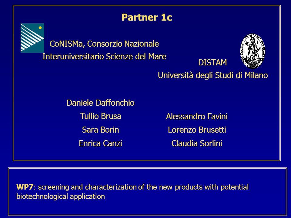 CoNISMa, Consorzio Nazionale Interuniversitario Scienze del Mare Partner 1c DISTAM Università degli Studi di Milano Daniele Daffonchio Tullio Brusa Sa