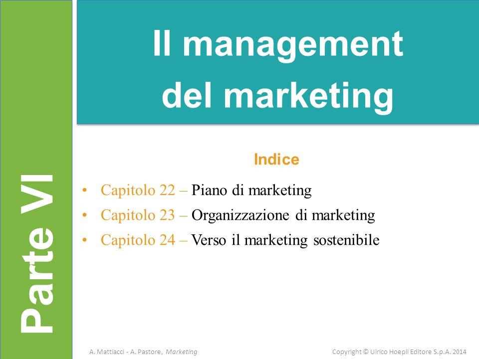 Parte VI Indice Capitolo 22 – Piano di marketing Capitolo 23 – Organizzazione di marketing Capitolo 24 – Verso il marketing sostenibile Il management