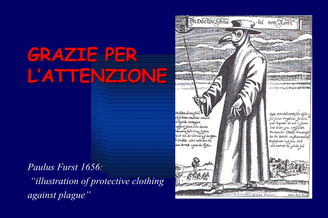 GRAZIE PER LATTENZIONE Paulus Furst 1656: illustration of protective clothing against plague