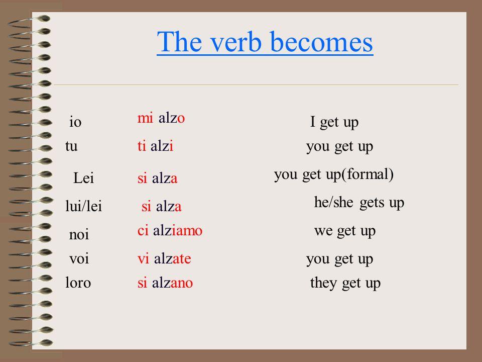 The verb becomes io mi alzo tuti alzi si alza noi voi loro ci alziamo vi alzate si alzano I get up lui/lei you get up he/she gets up we get up you get