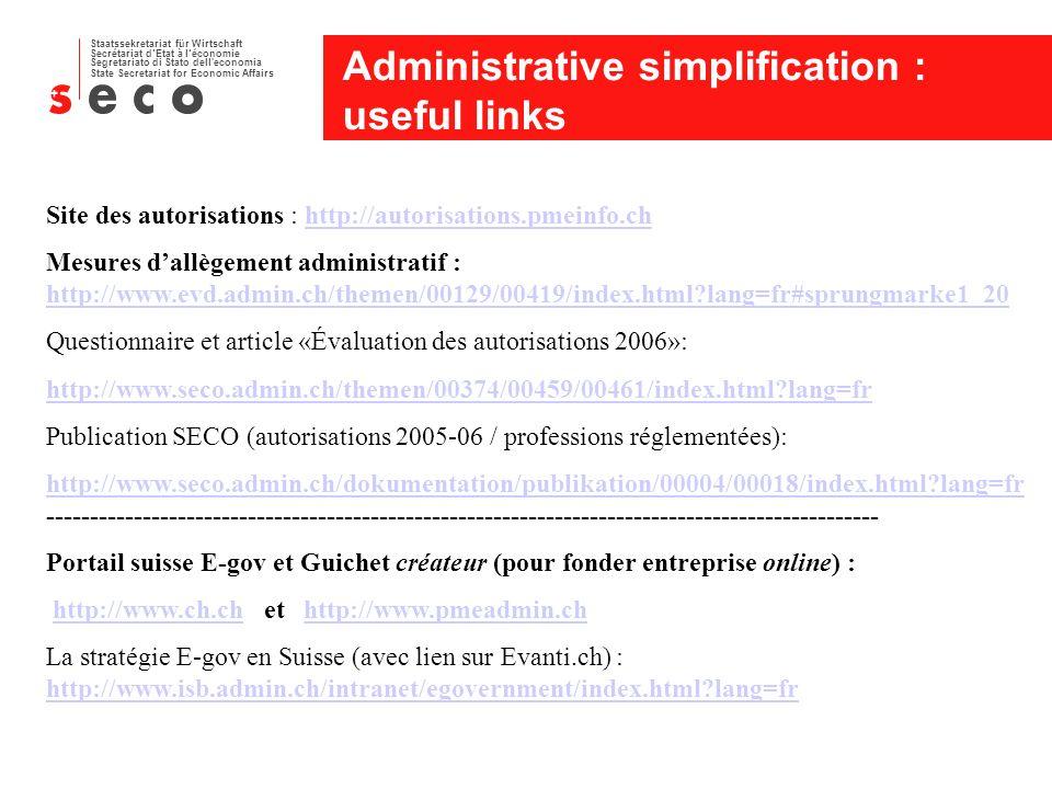 Staatssekretariat für Wirtschaft Secrétariat dEtat à léconomie Segretariato di Stato dell economia State Secretariat for Economic Affairs Administrative simplification : useful links Site des autorisations : http://autorisations.pmeinfo.chhttp://autorisations.pmeinfo.ch Mesures dallègement administratif : http://www.evd.admin.ch/themen/00129/00419/index.html lang=fr#sprungmarke1_20 http://www.evd.admin.ch/themen/00129/00419/index.html lang=fr#sprungmarke1_20 Questionnaire et article «Évaluation des autorisations 2006»: http://www.seco.admin.ch/themen/00374/00459/00461/index.html lang=fr Publication SECO (autorisations 2005-06 / professions réglementées): http://www.seco.admin.ch/dokumentation/publikation/00004/00018/index.html lang=fr http://www.seco.admin.ch/dokumentation/publikation/00004/00018/index.html lang=fr ----------------------------------------------------------------------------------------------- Portail suisse E-gov et Guichet créateur (pour fonder entreprise online) : http://www.ch.ch et http://www.pmeadmin.chhttp://www.ch.chhttp://www.pmeadmin.ch La stratégie E-gov en Suisse (avec lien sur Evanti.ch) : http://www.isb.admin.ch/intranet/egovernment/index.html lang=fr http://www.isb.admin.ch/intranet/egovernment/index.html lang=fr