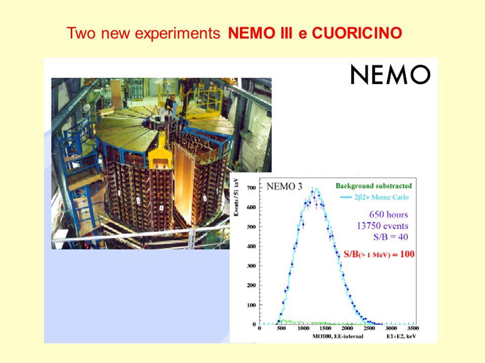 Two new experiments NEMO III e CUORICINO
