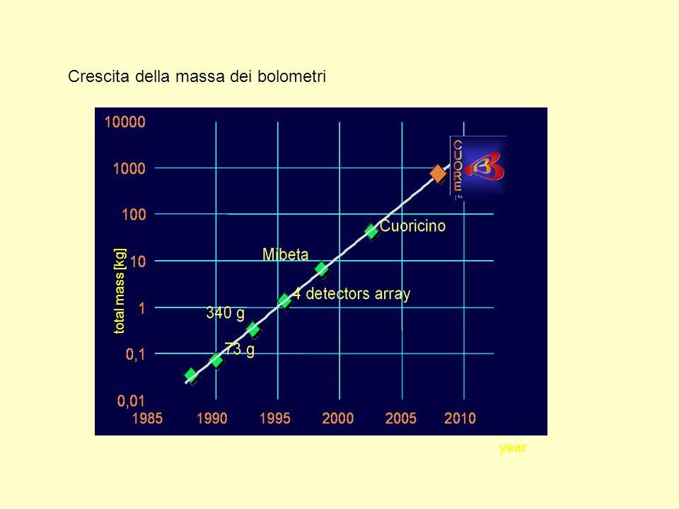 Crescita della massa dei bolometri year total mass [kg]