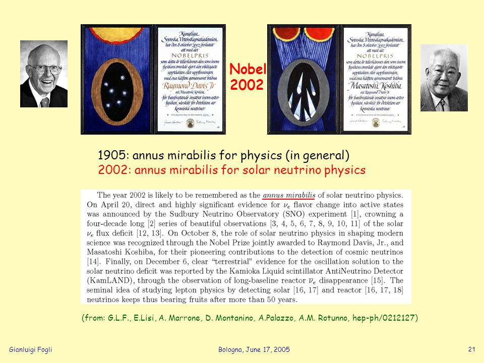 Gianluigi FogliBologna, June 17, 2005 21 1905: annus mirabilis for physics (in general) 2002: annus mirabilis for solar neutrino physics (from: G.L.F.