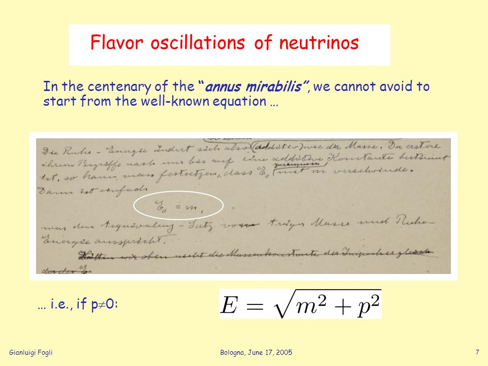 Gianluigi FogliBologna, June 17, 2005 7 Flavor oscillations of neutrinos In the centenary of the annus mirabilis, we cannot avoid to start from the we