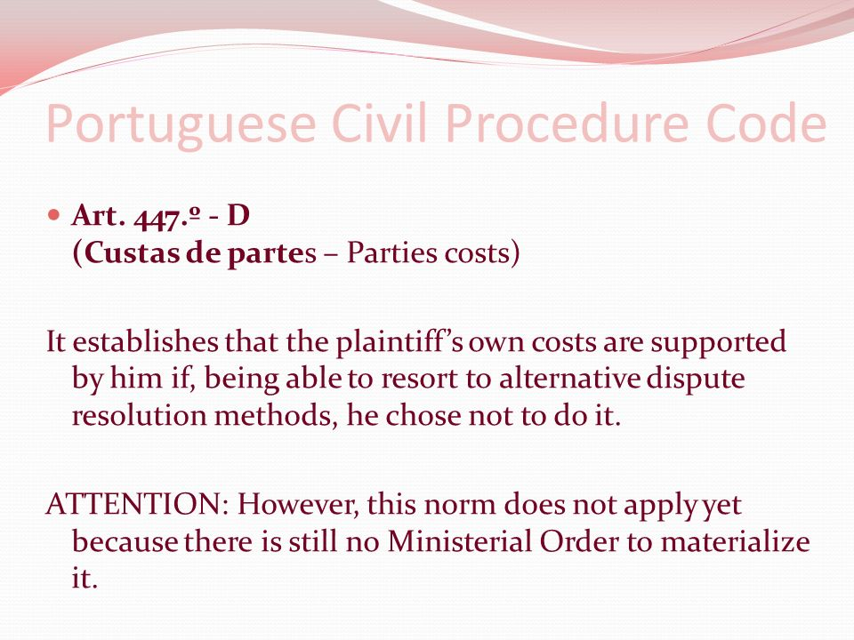 Portuguese Civil Procedure Code Art.