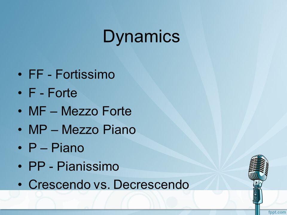 Dynamics FF - Fortissimo F - Forte MF – Mezzo Forte MP – Mezzo Piano P – Piano PP - Pianissimo Crescendo vs.