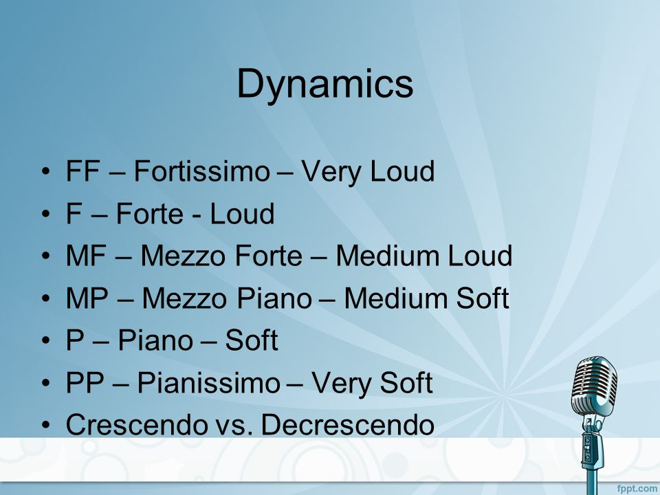 Dynamics FF – Fortissimo – Very Loud F – Forte - Loud MF – Mezzo Forte – Medium Loud MP – Mezzo Piano – Medium Soft P – Piano – Soft PP – Pianissimo –