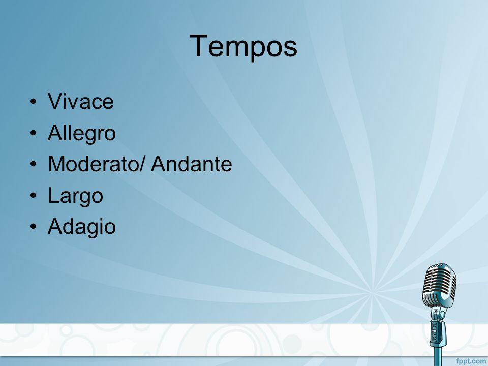 Tempos Vivace Allegro Moderato/ Andante Largo Adagio