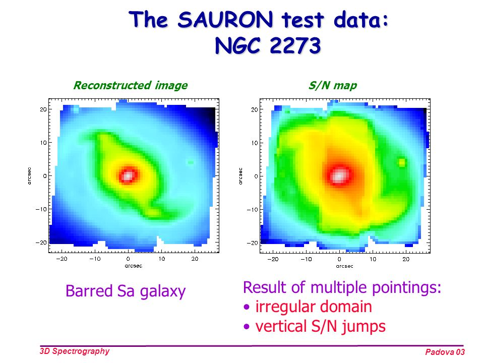 Padova 03 3D Spectrography The SAURON test data: NGC 2273 Result of multiple pointings: irregular domain vertical S/N jumps S/N mapReconstructed image Barred Sa galaxy