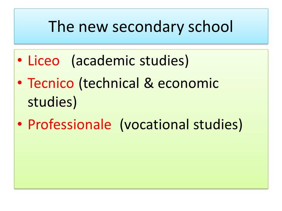 The new secondary school Liceo (academic studies) Tecnico (technical & economic studies) Professionale (vocational studies) Liceo (academic studies) Tecnico (technical & economic studies) Professionale (vocational studies)