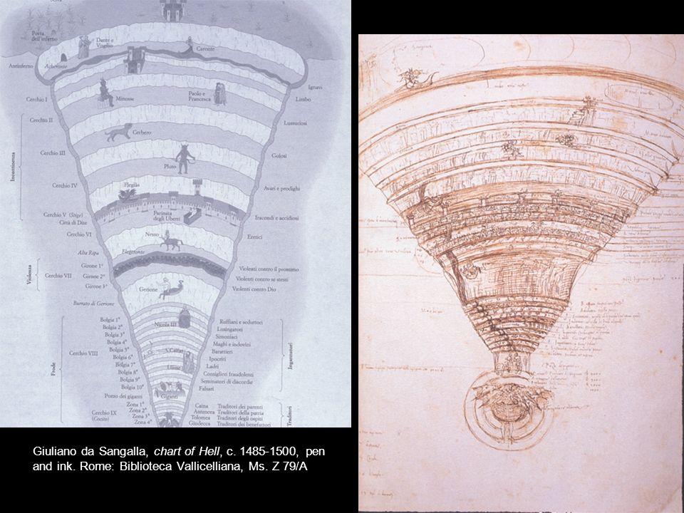 Giuliano da Sangalla, chart of Hell, c. 1485-1500, pen and ink. Rome: Biblioteca Vallicelliana, Ms. Z 79/A