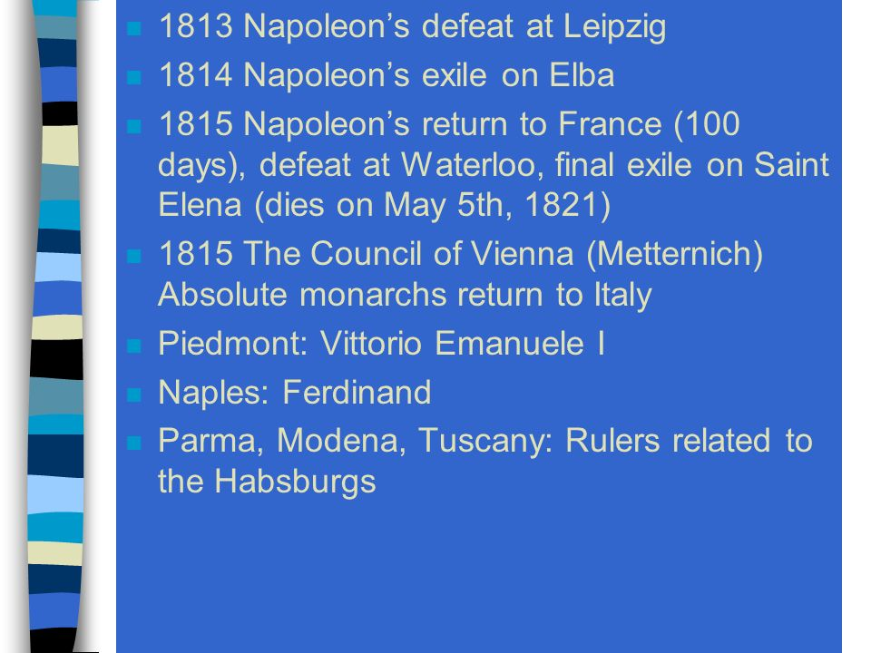 1800 Napoleon names the Cisalpine the Italian republic 1804 Napoleon crowns himself emperor.