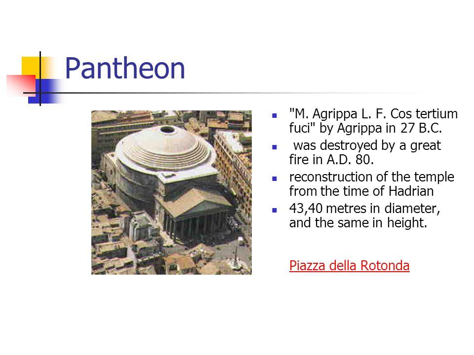 Pantheon M. Agrippa L. F. Cos tertium fuci by Agrippa in 27 B.C.