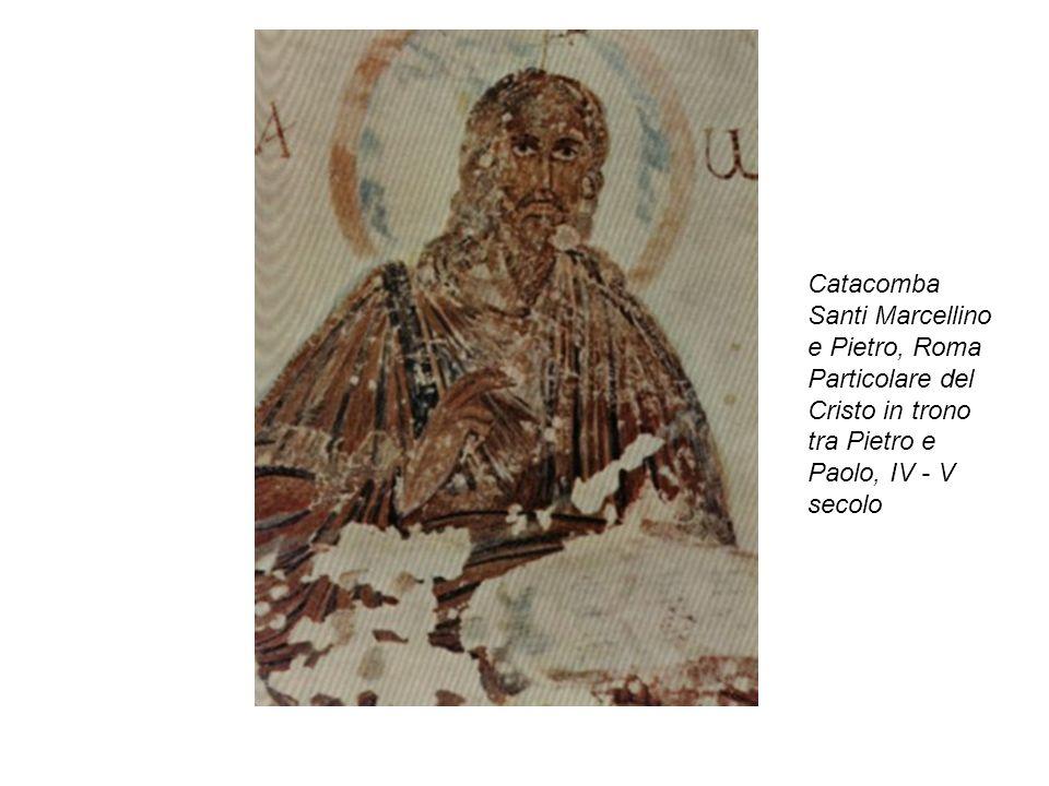 Catacomba Santi Marcellino e Pietro, Roma Particolare del Cristo in trono tra Pietro e Paolo, IV - V secolo