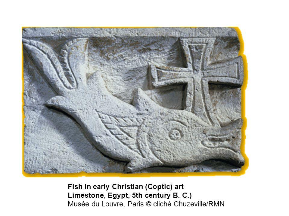 Fish in early Christian (Coptic) art Limestone, Egypt, 5th century B. C.) Musée du Louvre, Paris © cliché Chuzeville/RMN