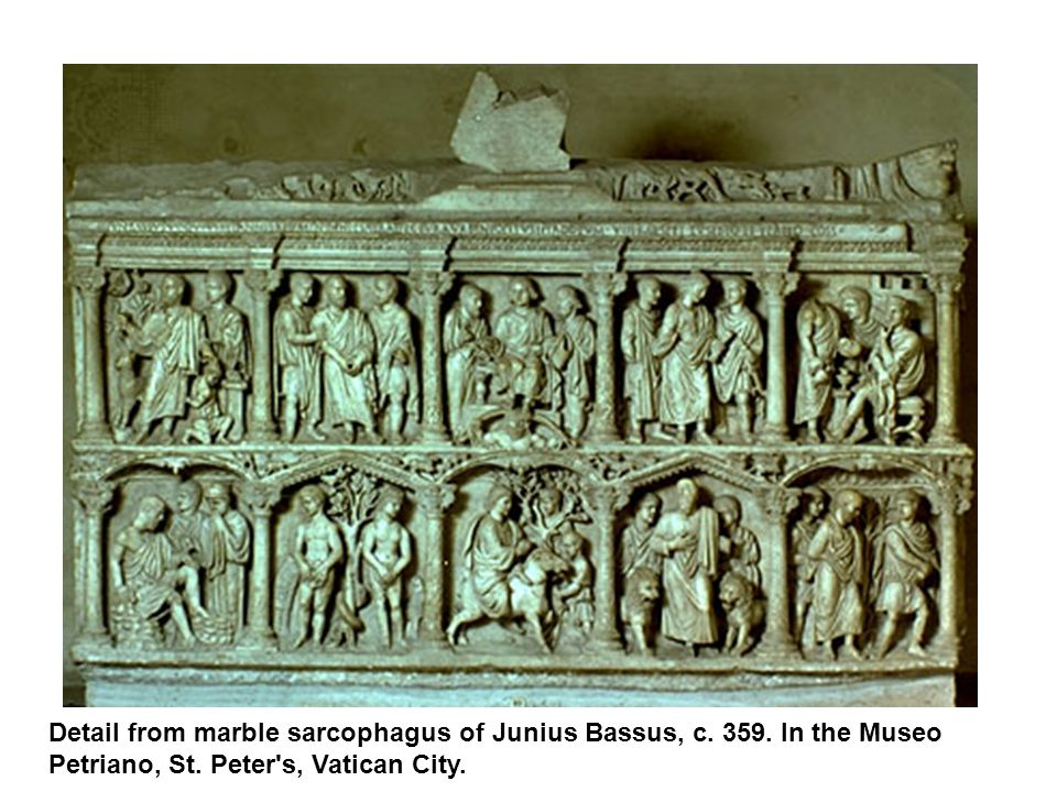 Detail from marble sarcophagus of Junius Bassus, c. 359. In the Museo Petriano, St. Peter's, Vatican City.