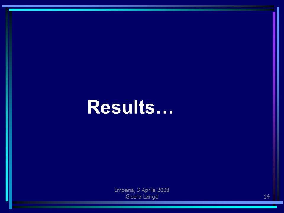 Imperia, 3 Aprile 2008 Gisella Langé14 Results…