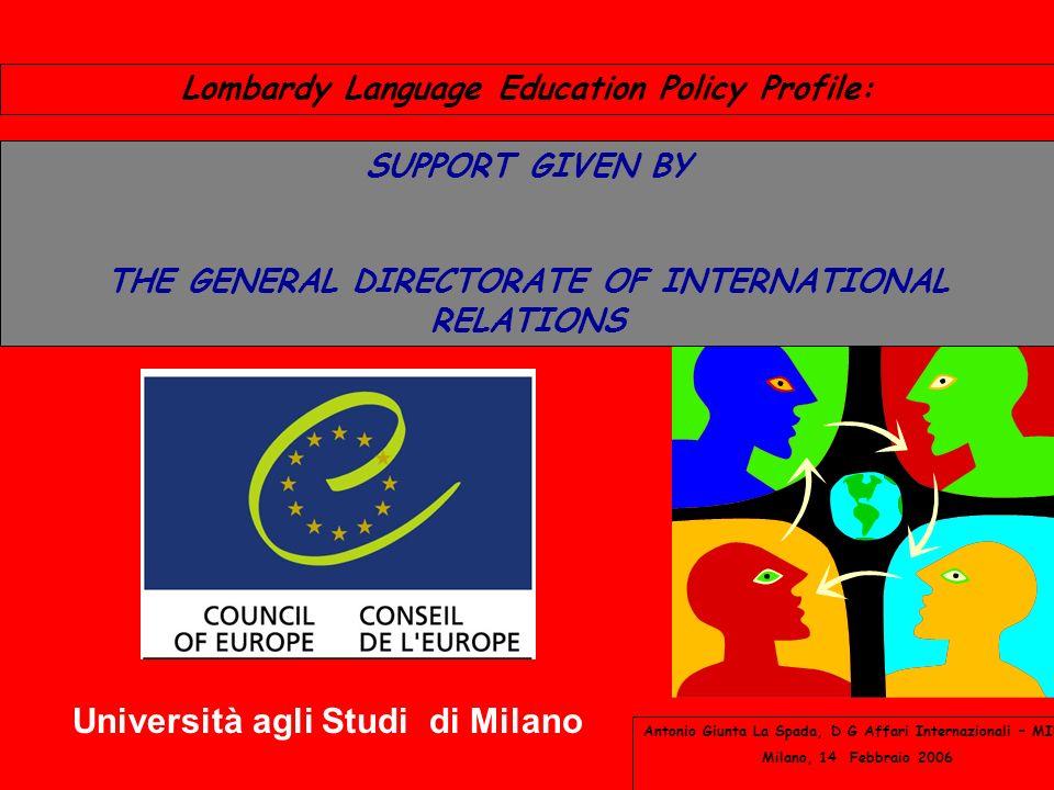 Lombardy Language Education Policy Profile: Antonio Giunta La Spada, D G Affari Internazionali – MIUR Milano, 14 Febbraio 2006 SUPPORT GIVEN BY THE GENERAL DIRECTORATE OF INTERNATIONAL RELATIONS Università agli Studi di Milano