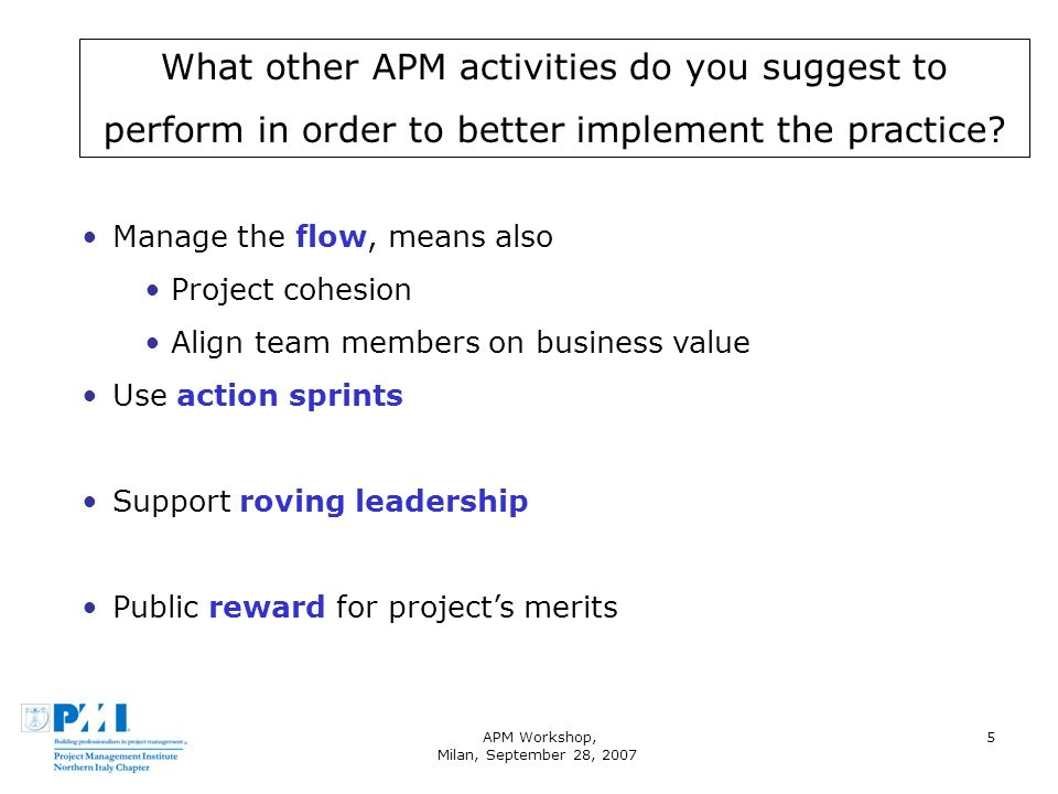 APM Workshop, Milan, September 28, 2007 5 What other APM activities do you suggest to perform in order to better implement the practice? Manage the fl