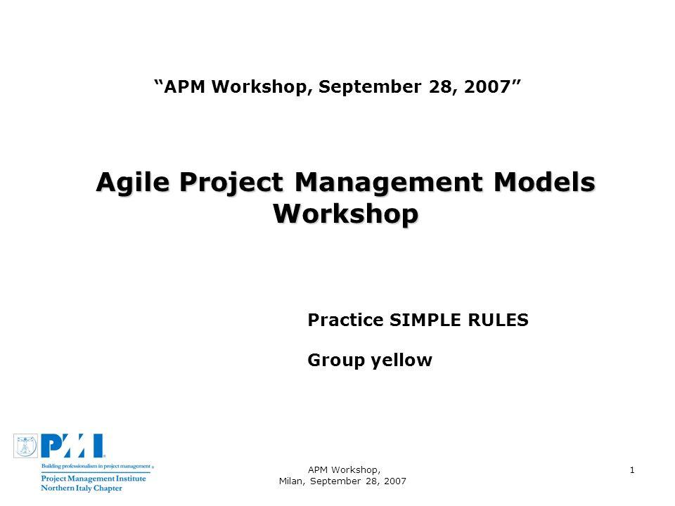 APM Workshop, Milan, September 28, 2007 1 APM Workshop, September 28, 2007 Agile Project Management Models Workshop Practice SIMPLE RULES Group yellow