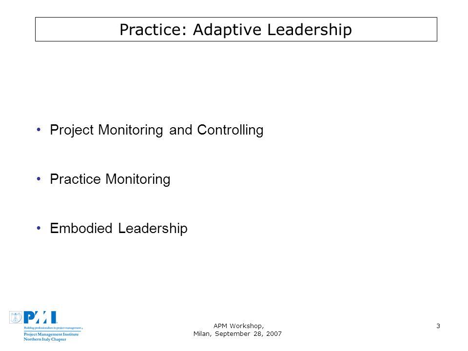 APM Workshop, Milan, September 28, 2007 3 Practice: Adaptive Leadership Project Monitoring and Controlling Practice Monitoring Embodied Leadership