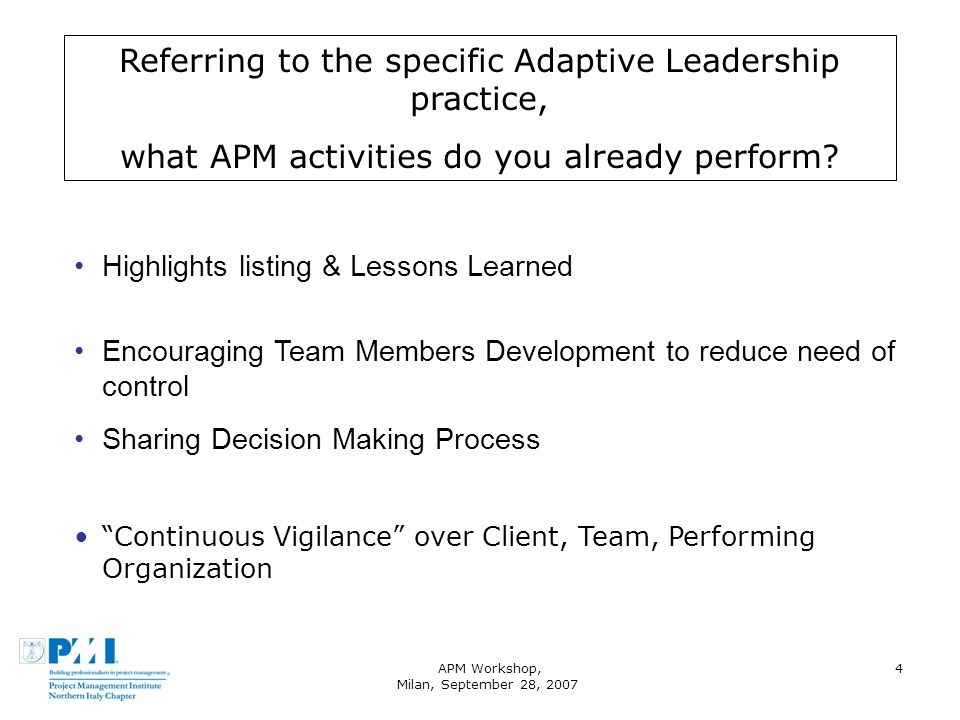 APM Workshop, Milan, September 28, 2007 4 Referring to the specific Adaptive Leadership practice, what APM activities do you already perform.