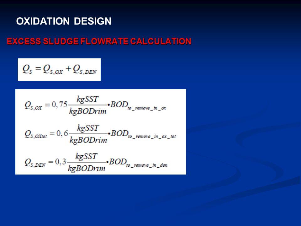 OXIDATION DESIGN EXCESS SLUDGE FLOWRATE CALCULATION