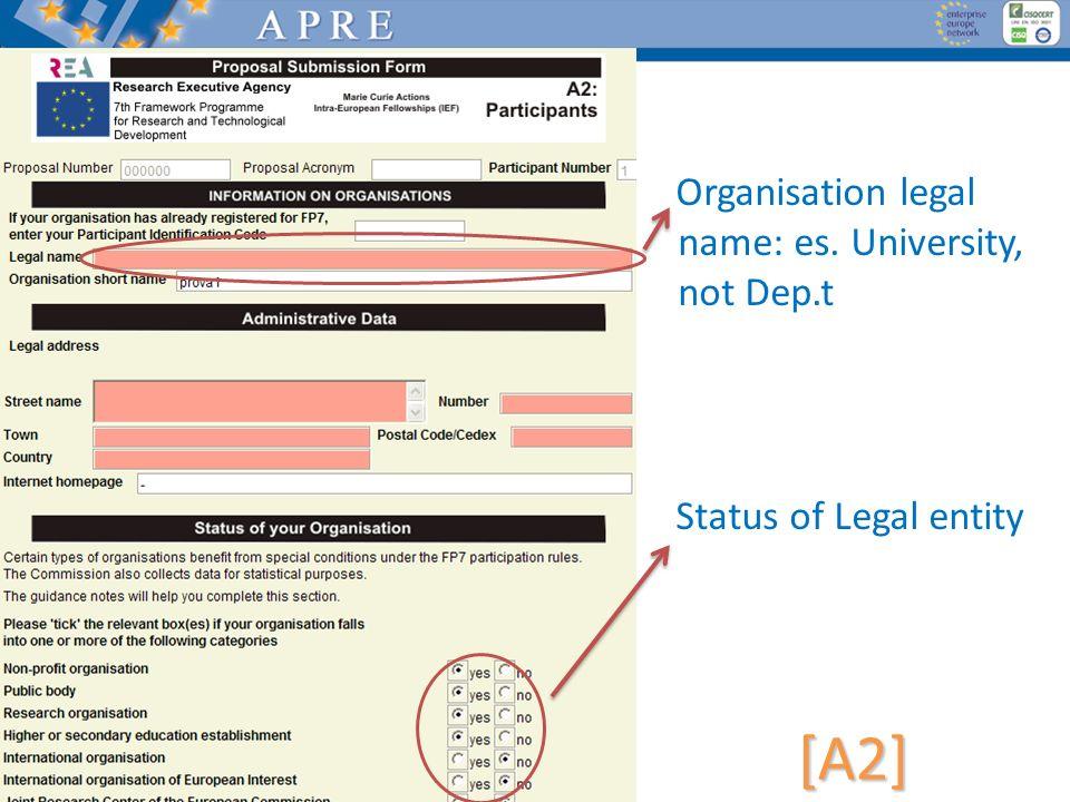 Organisation legal name: es. University, not Dep.t Status of Legal entity [A2]