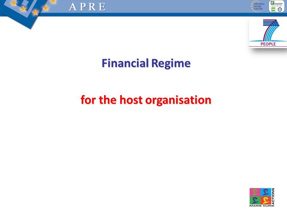 Financial Regime for the host organisation