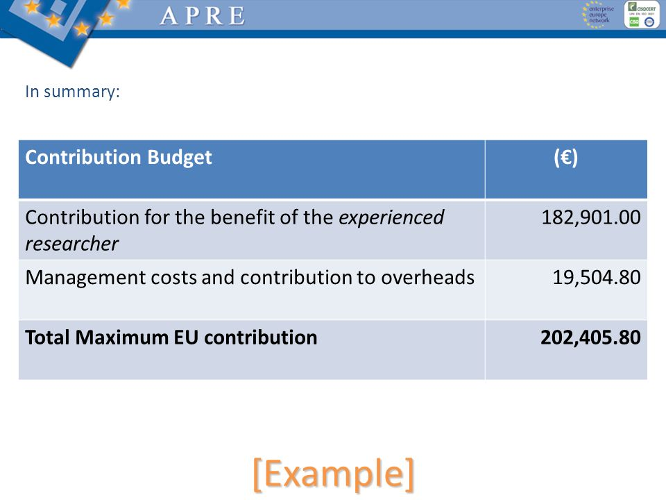 [Example] In summary: Contribution Budget() Contribution for the benefit of the experienced researcher 182,901.00 Management costs and contribution to