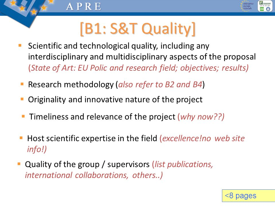 Scientific and technological quality, including any interdisciplinary and multidisciplinary aspects of the proposal (State of Art: EU Polic and resear
