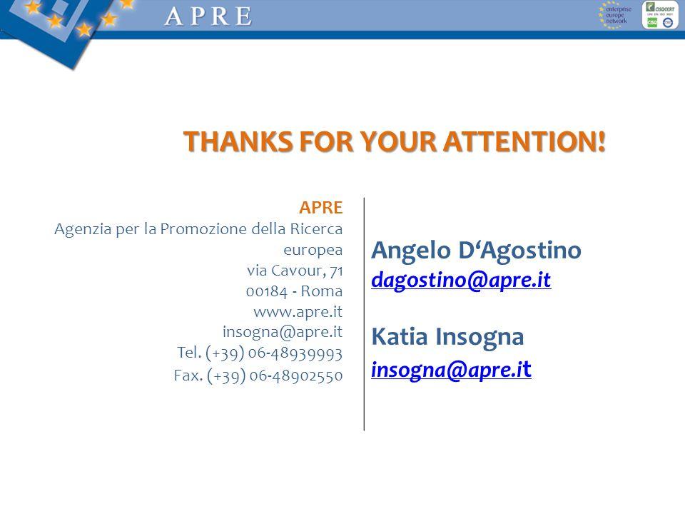 THANKS FOR YOUR ATTENTION! APRE Agenzia per la Promozione della Ricerca europea via Cavour, 71 00184 - Roma www.apre.it insogna@apre.it Tel. (+39) 06-