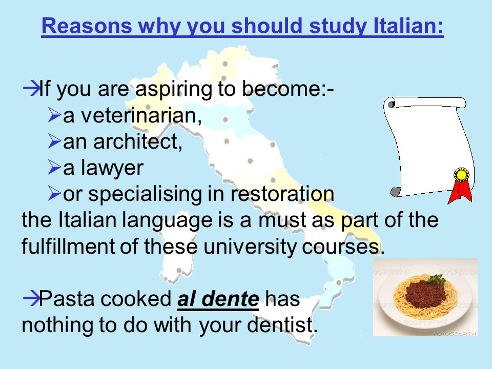 If you are aspiring to become:- a veterinarian, an architect, a lawyer or specialising in restoration the Italian language is a must as part of the fu