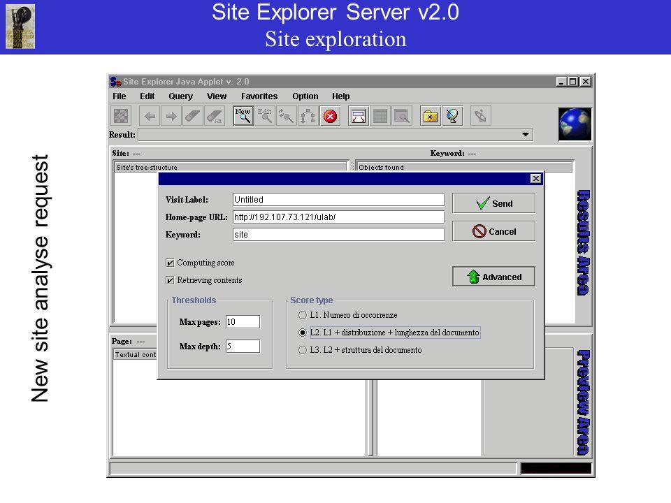 Site Explorer Server v2.0 Site exploration New site analyse request