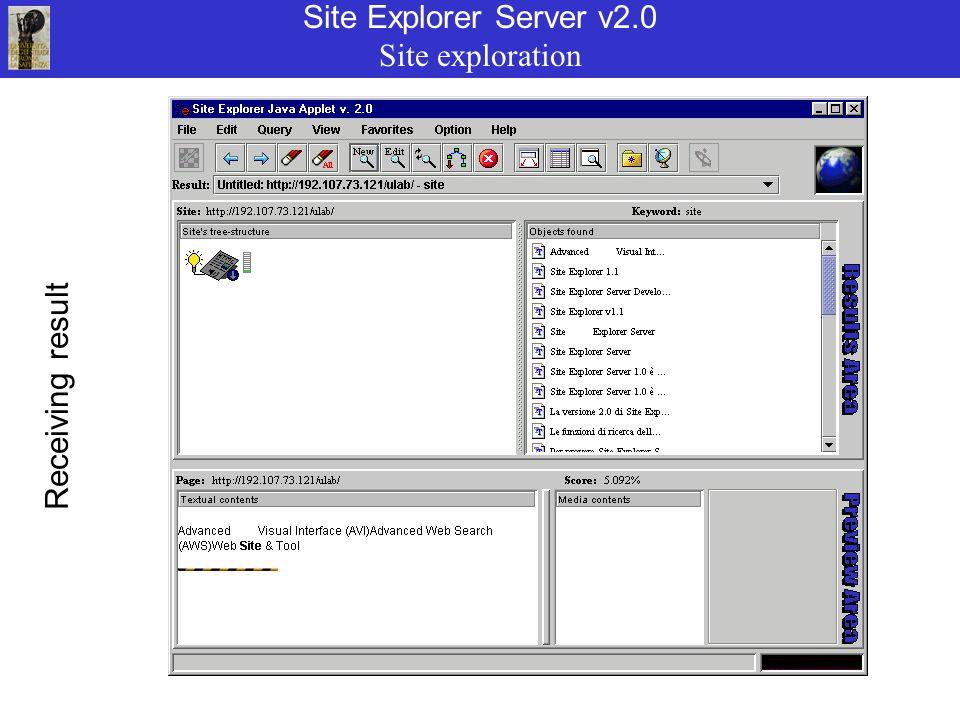 Site Explorer Server v2.0 Site exploration Receiving result