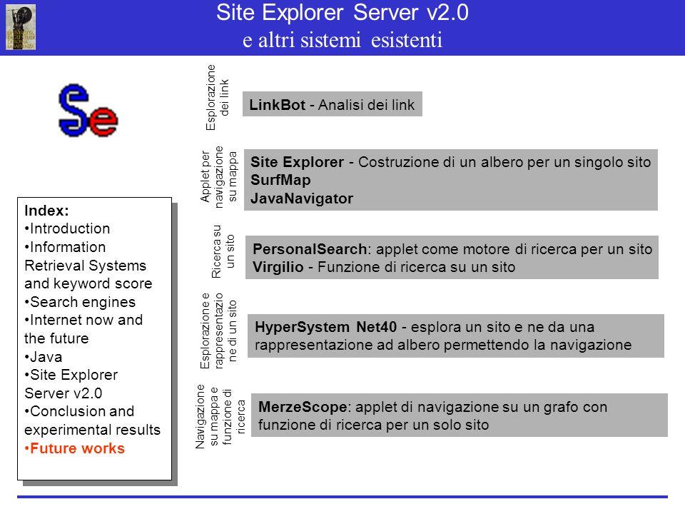 Site Explorer Server v2.0 e altri sistemi esistenti LinkBot - Analisi dei link Site Explorer - Costruzione di un albero per un singolo sito SurfMap JavaNavigator PersonalSearch: applet come motore di ricerca per un sito Virgilio - Funzione di ricerca su un sito MerzeScope: applet di navigazione su un grafo con funzione di ricerca per un solo sito Esplorazione dei link Applet per navigazione su mappa Ricerca su un sito Navigazione su mappa e funzione di ricerca HyperSystem Net40 - esplora un sito e ne da una rappresentazione ad albero permettendo la navigazione Esplorazione e rappresentazio ne di un sito Index: Introduction Information Retrieval Systems and keyword score Search engines Internet now and the future Java Site Explorer Server v2.0 Conclusion and experimental results Future works Index: Introduction Information Retrieval Systems and keyword score Search engines Internet now and the future Java Site Explorer Server v2.0 Conclusion and experimental results Future works