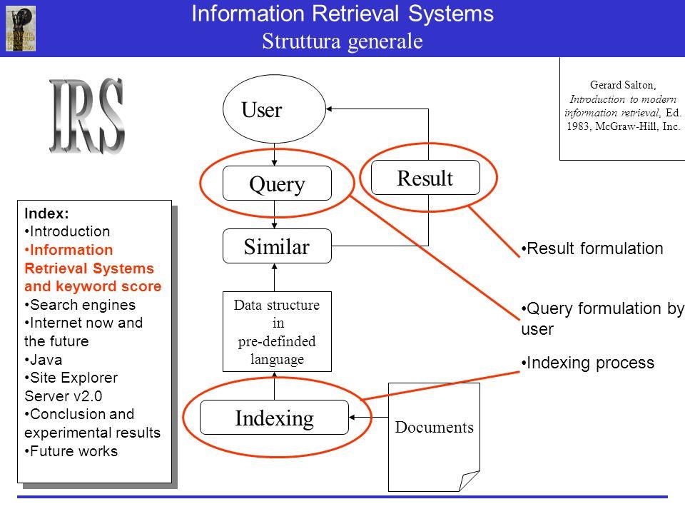 Information Retrieval Systems Struttura generale Gerard Salton, Introduction to modern information retrieval, Ed.