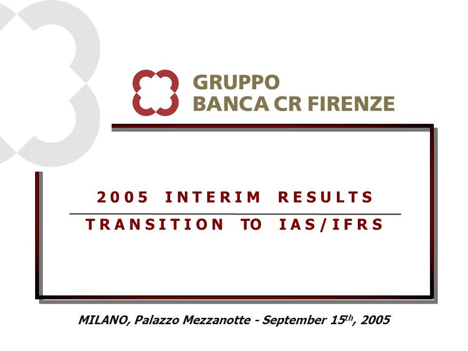 2 0 0 5 I N T E R I M R E S U L T S T R A N S I T I O N TO I A S / I F R S MILANO, Palazzo Mezzanotte - September 15 th, 2005