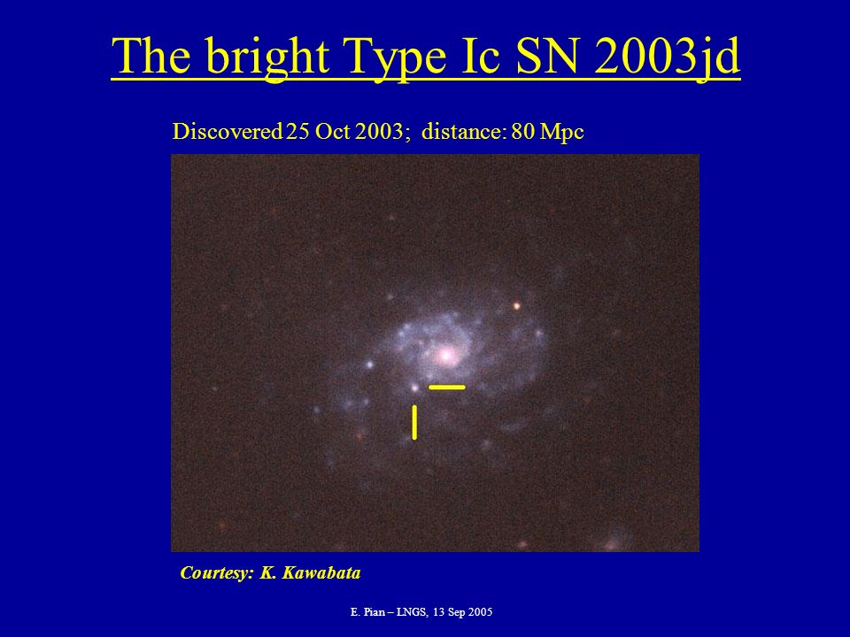 E. Pian – LNGS, 13 Sep 2005 The bright Type Ic SN 2003jd Courtesy: K.