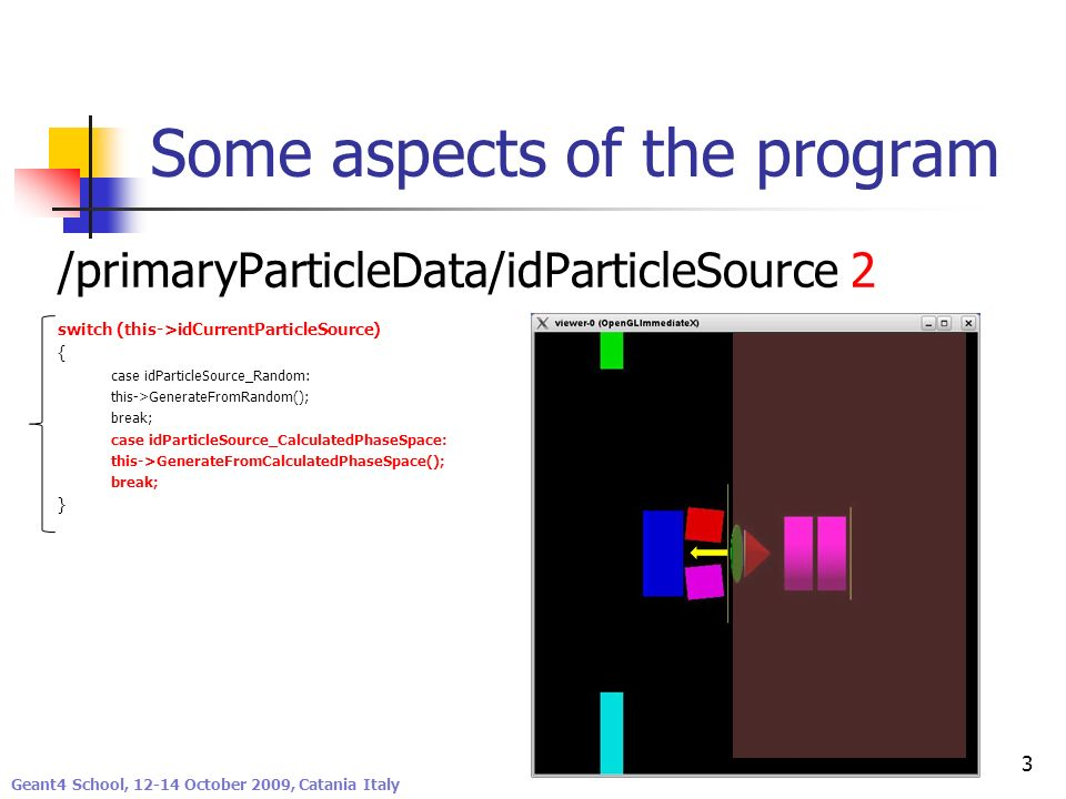 Geant4 Low Energy Electromagnetic Physics Working Group Some aspects of the program /primaryParticleData/idParticleSource 2 switch (this->idCurrentPar