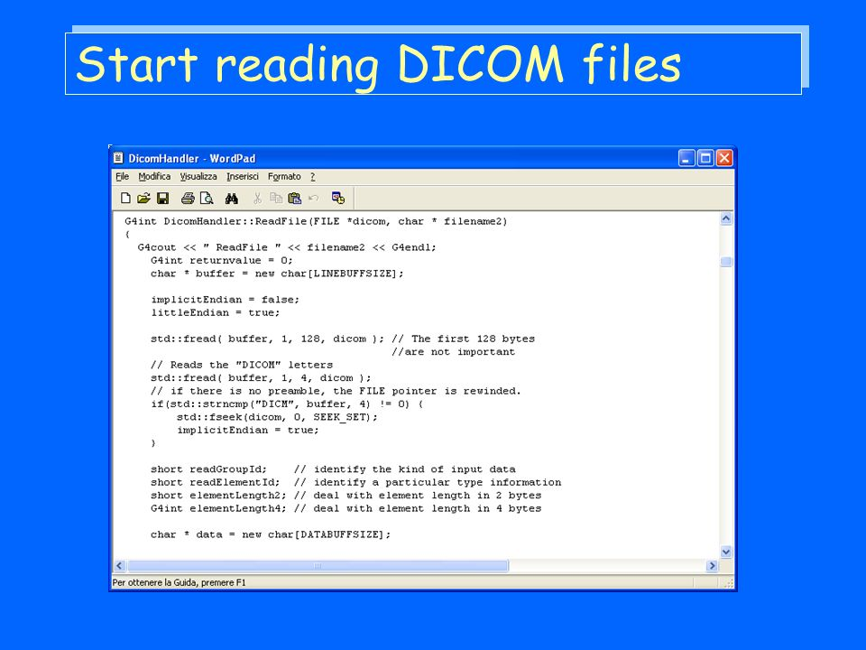 Start reading DICOM files
