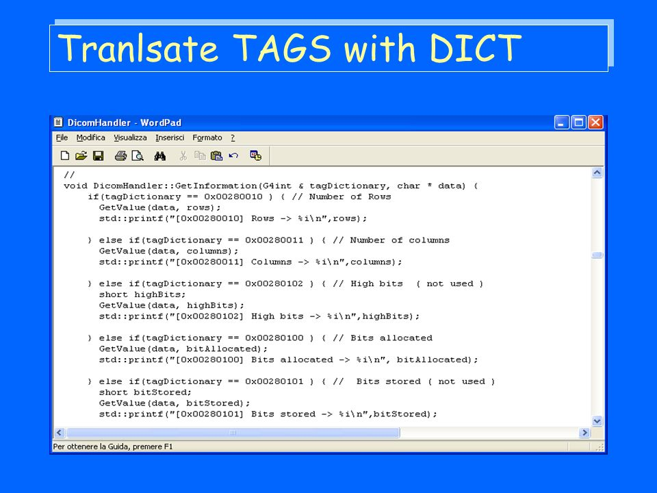 Tranlsate TAGS with DICT