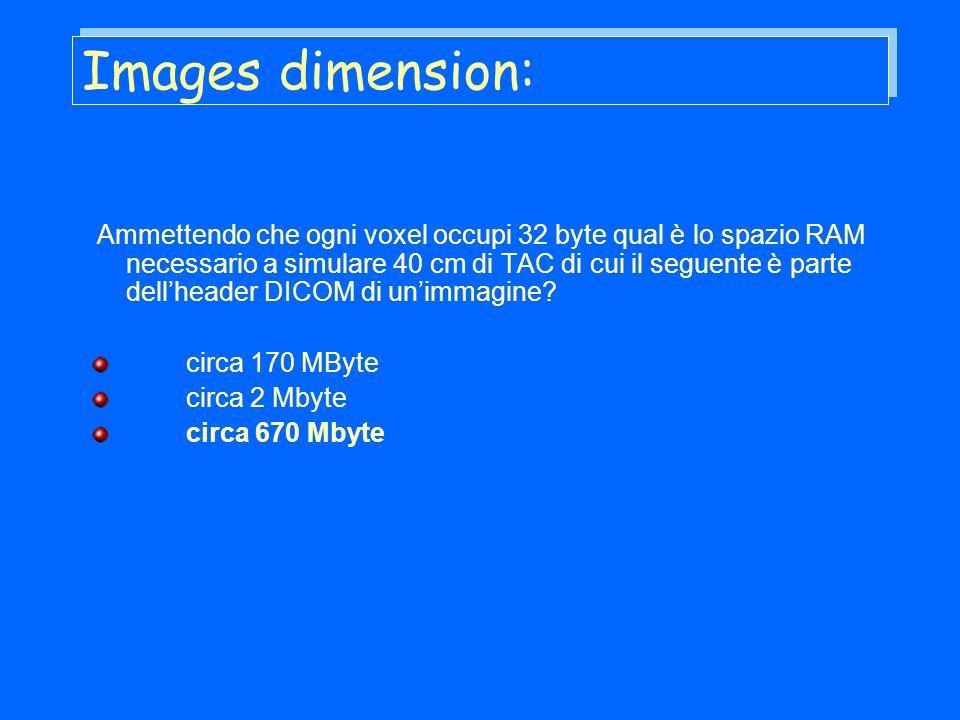 Images dimension: Ammettendo che ogni voxel occupi 32 byte qual è lo spazio RAM necessario a simulare 40 cm di TAC di cui il seguente è parte dellheader DICOM di unimmagine.