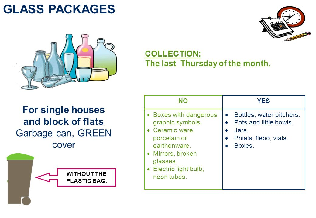 For single houses and block of flats Garbage can, GREEN cover GLASS PACKAGES COLLECTION: The last Thursday of the month.