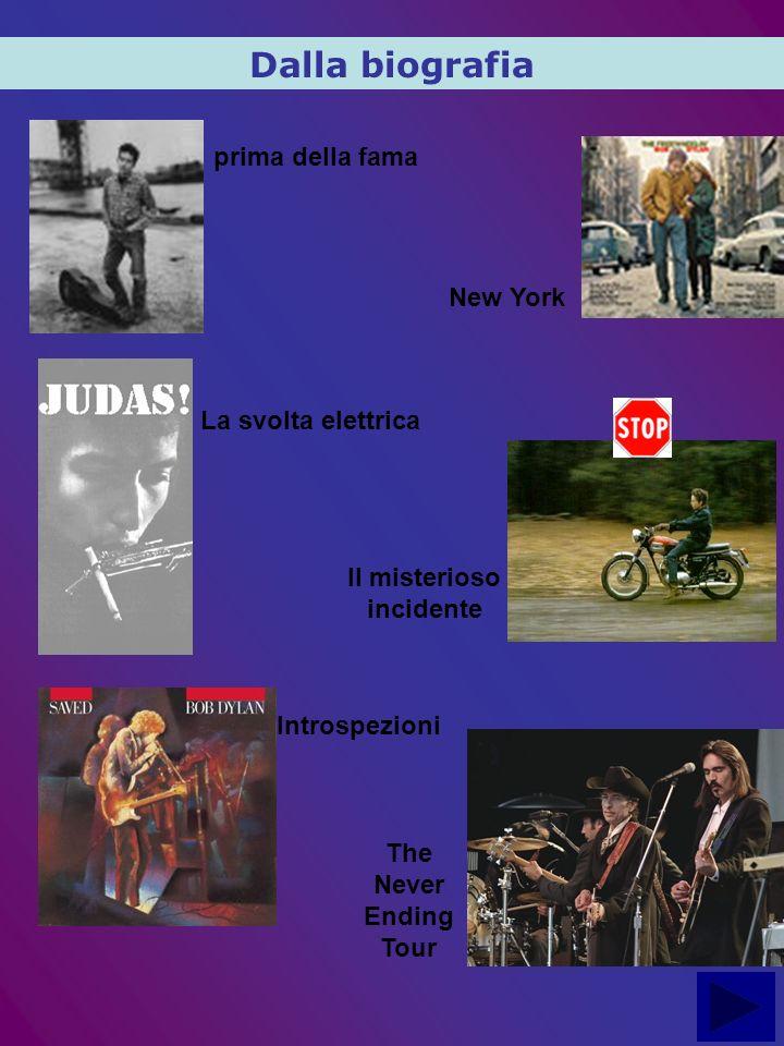 prima della fama Dalla biografia New York La svolta elettrica Il misterioso incidente Introspezioni The Never Ending Tour