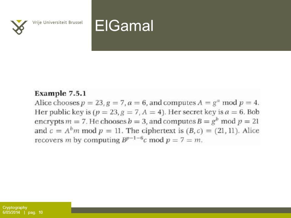 ElGamal Cryptography 6/05/2014 | pag. 10