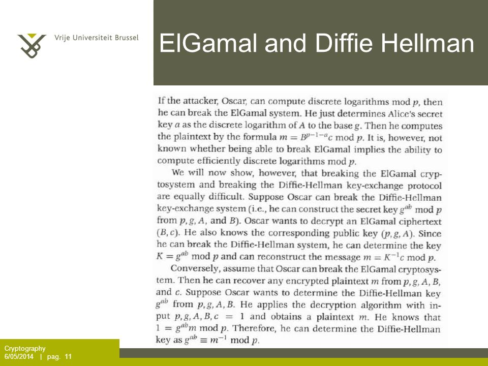 ElGamal and Diffie Hellman Cryptography 6/05/2014 | pag. 11