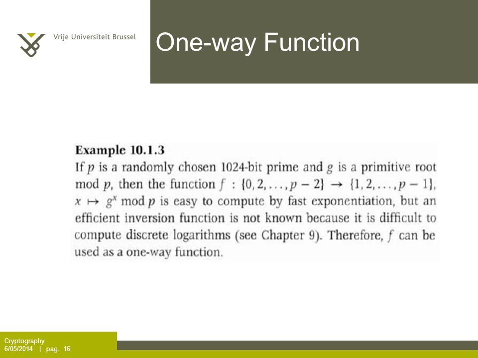One-way Function Cryptography 6/05/2014 | pag. 16