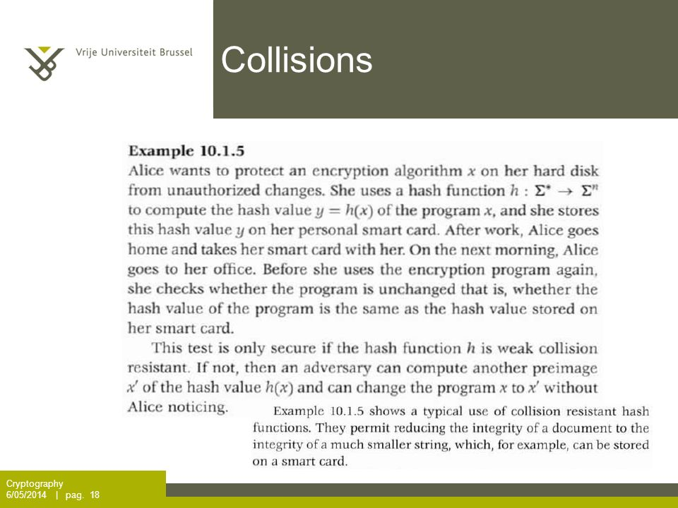 Collisions Cryptography 6/05/2014 | pag. 18